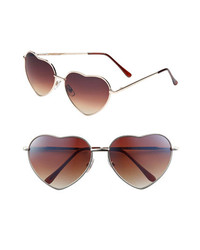 BP. Heart Shaped Sunglasses Gold Brown One Size