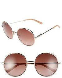 Chloé Chloe Nerine 56mm Round Sunglasses Light Gold Ivory
