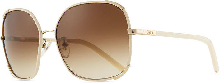 e4064537f9c ... Gold Sunglasses Chloé Chloe Nerine Oversized Sunglasses With Leather  Goldcream ...