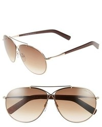 Tom Ford Eva 61mm Aviator Sunglasses Rose Gold Grey Mirror Silver