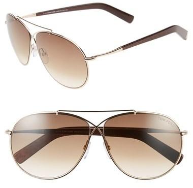 85634b41a4 ... Tom Ford Eva 61mm Aviator Sunglasses Rose Gold Grey Mirror Silver ...