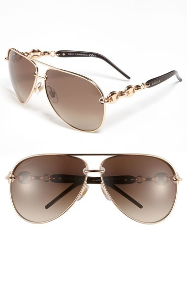 c76ae90ca23 ... Gold Sunglasses Gucci Marina Chain 63mm Aviator Sunglasses ...