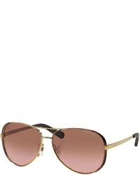 Michael Kors Michl Kors Chelsea Soft Touch Aviator Sunglasses Golden