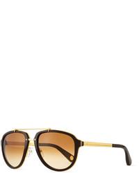 Marc Jacobs Plastic Metal Aviator Sunglasses Goldbrown