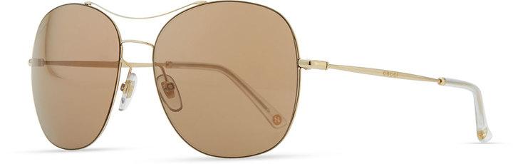 70f6d4e1dbe8 ... Neiman Marcus › Gucci › Brown and Gold Sunglasses Gucci Round Metal Aviator  Sunglasses Browngolden ...