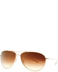 Oliver Peoples Tavener Mirrored Aviator Sunglasses Gold
