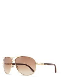 Jimmy Choo Walde Crystal Temple Aviator Sunglasses Brown