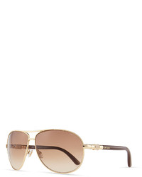 Jimmy Choo Walde Crystal Temple Aviator Sunglasses Brown