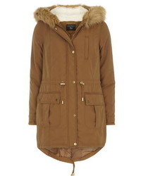 Tan Faux Fur Hooded Parka