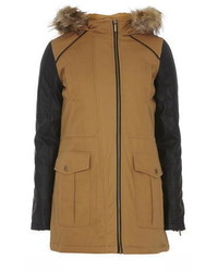 Tan Faux Leather Sleeve Parka Coat