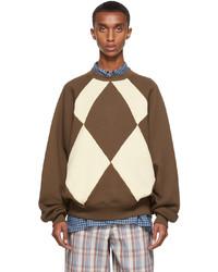 Acne Studios Brown Beige Argyle Sweatshirt