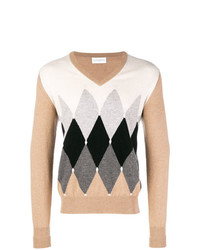 Ballantyne Colour Contrast V Neck Sweater