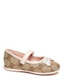 Gucci Babys Toddlers Original Gg Canvas Bow Ballet Flats
