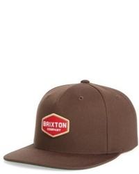 Brixton Brighton Obtuse Snapback Baseball Cap Brown