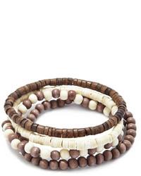 21men 21 Wooden Bead Bracelet Set