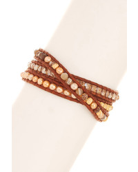 Chan Luu 4mm Freshwater Champagne Pearl Mix Beaded Leather Wrap Bracelet