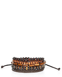 River Island Brown Mixed Wooden Bracelet Pack