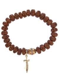 Carved wood beaded diamond bracelet medium 270306