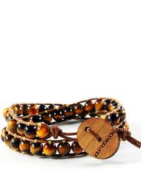 Domo Beads Premium Wrap Bracelet Tiger Eye On Dark Brown