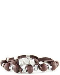 Mr Ettika Beaded Multistrand Leather Bracelet