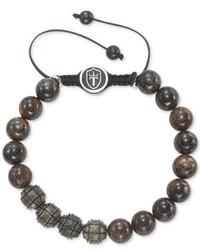 Triton Sterling Silver Bracelet Cast Bronze And Bronzite Beaded Paracord Bracelet