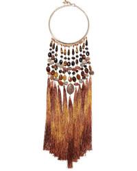 Rum tasseled gold tone beaded necklace brown medium 3715800