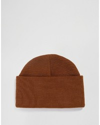 Asos Brand Beanie With Deep Turn Up In Tobacco