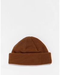 Asos Brand Mini Fisherman Beanie In Tobacco