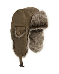 Waxed cotton aviator hat with faux medium 8855730