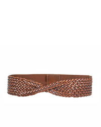 Neiman Marcus Braided Twist Front Belt Brown