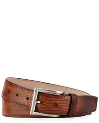 Magnanni For Neiman Marcus Lizard Square Buckle Belt