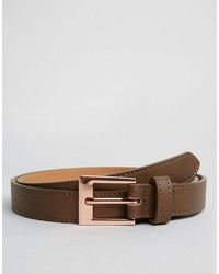 Asos Smart Slim Belt In Brown With Rose Gold Buckle