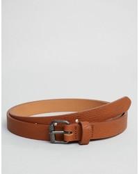 Asos Super Skinny Belt In Tan