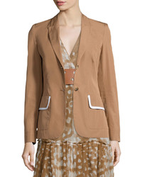 Agnona Two Button Jacket Wcontrast Trim Caramel