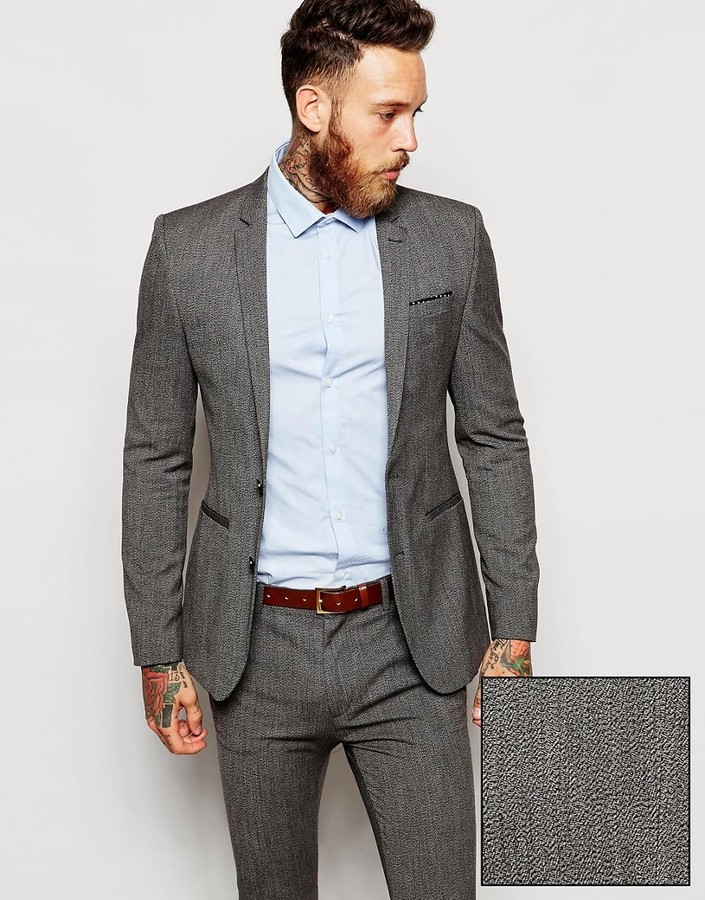 Best Place To Buy Super Skinny Waistcoat in Salt and Pepper - Black / white Asos Quality Outlet Store edTQA4Mu
