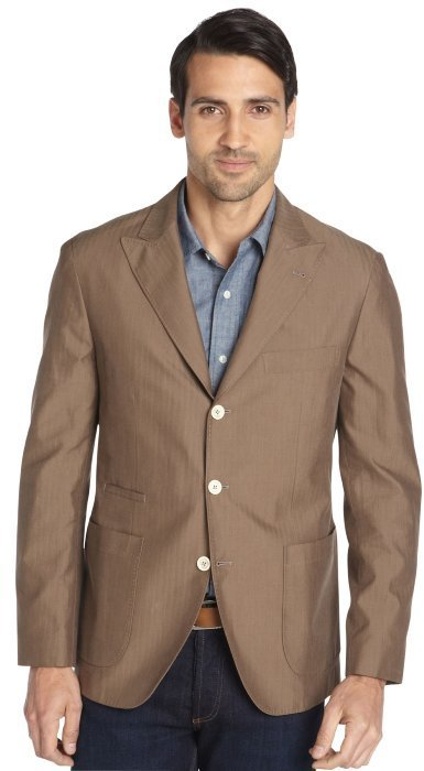 Brunello Cucinelli Brown Herringbone Cotton Three Button Jacket ...