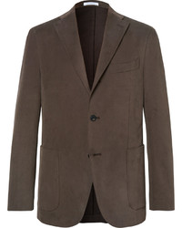 Brown slim fit brushed stretch cotton twill suit jacket medium 3690739