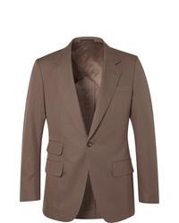 Kingsman Brown Slim Fit Unstructured Cotton Twill Suit Jacket