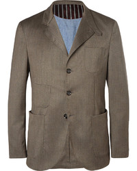 Incotex Cycling Reflective Trim Wool Blend Suit Jacket