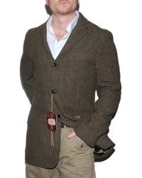 Ralph Lauren Polo Wool Blazer Sport Coat Jacket Plaid Brown Italy 42l 1295