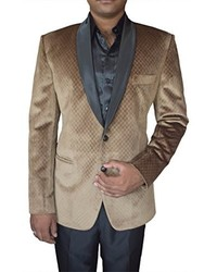 INMONARCH Slim Fit Casual Brown Velvet Blazer Sport Jacket Coat Two Button Vb29