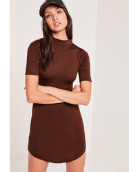 Missguided Burgundy Short Sleeve Curve Hem Bodycon Dress