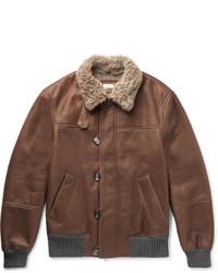 Brunello Cucinelli Cashmere Trimmed Shearling Bomber Jacket