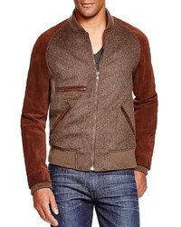 Billy Reid Finn Suede Sleeve Bomber Jacket