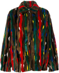 Marni Stripe Patch Fur Bomber Jacket
