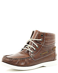 River Island Boys Brown Boat Boot