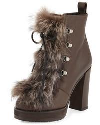 Brunello Cucinelli Fox Fur Lace Up Hiker Boot Brown