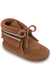 Minnetonka Infantstoddlers Braid On Cuff Brown Suede Boots