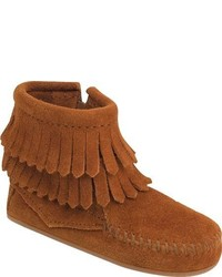 Minnetonka Infantstoddlers Double Fringe Side Zip Boot Taupe Suede Casual Shoes