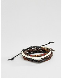 Asos Bracelet Pack In Brown With Red Highlights